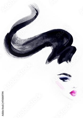 Hairstylist and makeup. Fashion illustration. Beautiful woman