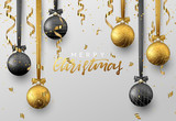 Christmas background with shining gold and black ball, serpentine and confetti. Lettering Merry Christmas card vector Illustration. - 176070114
