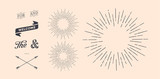Fototapety Set of light rays, sunburst and rays of sun. Design elements, linear drawing, vintage hipster style. Light rays sunburst, arrow, ribbon, and, for, the and ampersand. Vector Illustration