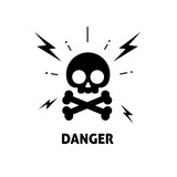 Electrical hazard sign vector illustration, flat cartoon electric shock risk zone symbol, electricity caution sticker, alert sign - 176075588