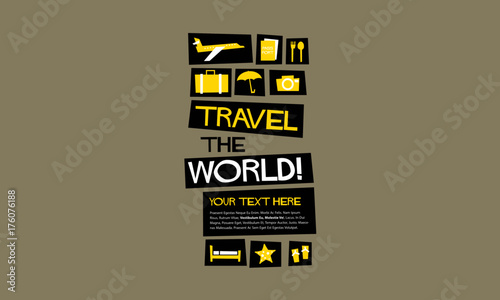 Staande foto Positive Typography Travel The World! (Flat Style Vector Illustration Quote Poster Design)