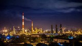 Oil refinery night timelapse with clouds in background. Gas industry background. - 176077701