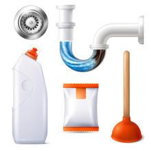 Drain Cleaner Icon Set Sticker
