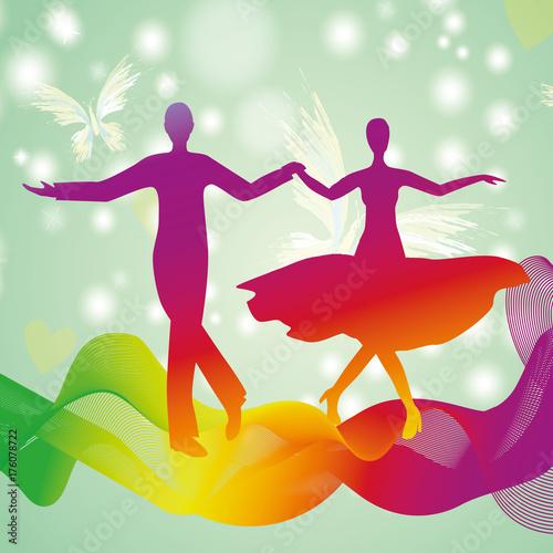 Fototapeta Couple dancing ballroom dance, vector silhouette logo