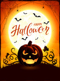 Orange Halloween theme with Jack O Lantern on the moon background - 176079181