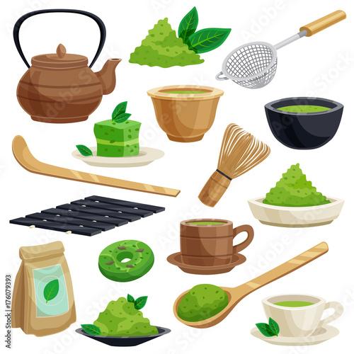 Japanese Tea Ceremony Icons Set