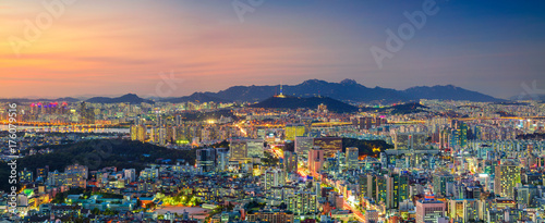 Fotobehang Seoel Seoul. Panoramic cityscape image of Seoul downtown during summer sunset.