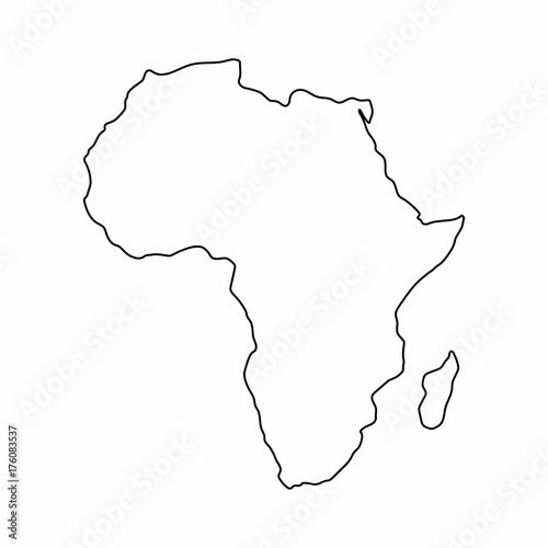 Africa map outline graphic freehand drawing on white background