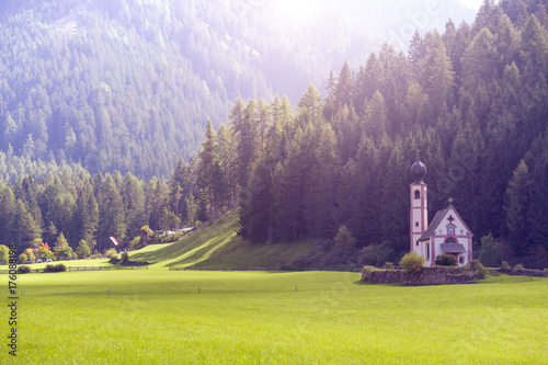 Foto op Plexiglas Aubergine Saint Johann church at the Dolomites alps