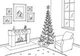 Living room graphic Christmas tree black white interior sketch illustration vector - 176089152