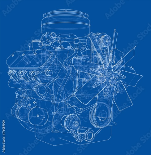 Fridge magnet Engine sketch. Vector