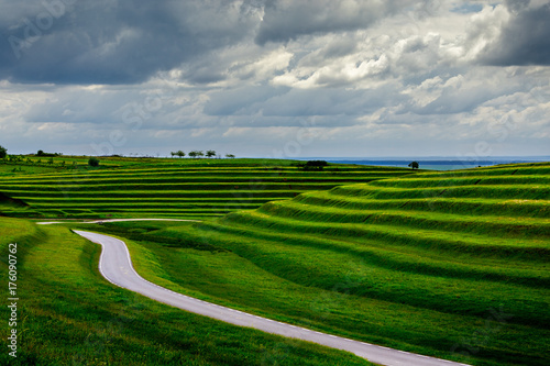 Foto op Aluminium Donkergrijs Grazed terraces facing the Danube floodplain