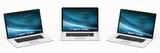 Triple modern digital silver and black laptop 3D rendering