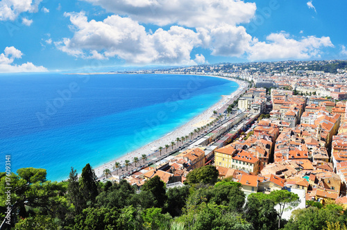 Spoed canvasdoek 2cm dik Nice Great view of Nice City, French Riviera with Mediterranean Sea