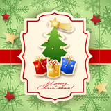 Christmas card with tree, gifts and text - 176095112