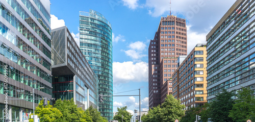 Papiers peints Berlin Berlin, view of Potsdamer Strasse with modern high-rise buildings with lots of windows