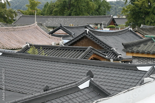 korea traditional house roof Poster
