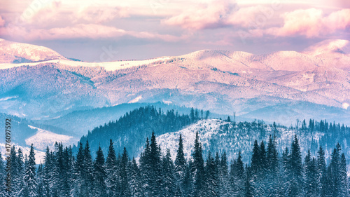 Foto op Aluminium Lichtroze Beautiful winter mountain range in sunset light, alpine landscape, Carpathian mountains
