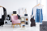 Pink chair in bright dressing-room - 176098725