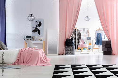 Glamour woman's bedroom with wardrobe - 176098707