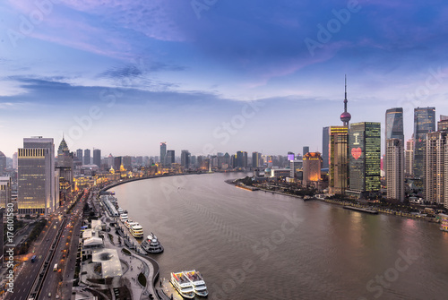 Shanghai skyline and cityscape at sunset Poster