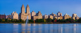 Central Park West and the Jacqueline Kennedy Onassis Reservoir at dawn (panoramic). Upper West Side, Manhattan, New York City - 176105397
