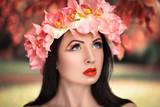 Fototapety Beautiful Girl in a Flower Wreath