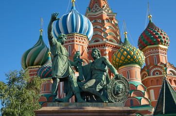 The Monument to Minin and Pozharsky on Red square near St. Basil's Cathedral, Moscow, Russia