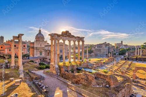 Rome sunrise city skyline at Rome Forum (Roman Forum), Rome, Italy