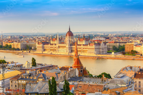 Budapest city skyline at Hungalian Parliament and Danube River, Budapest, Hungar Poster