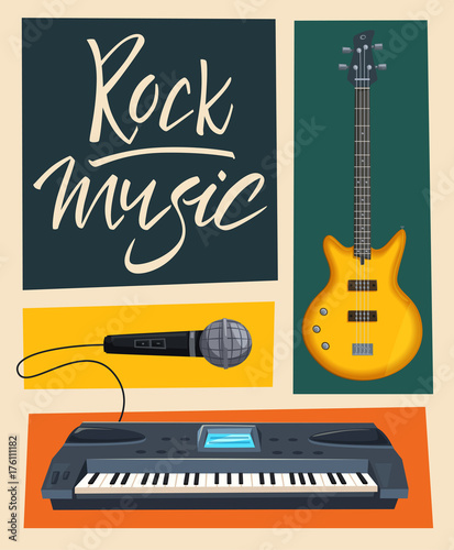 Fotobehang Vintage Poster Rock music poster. Old school party. Cartoon vector illustration.