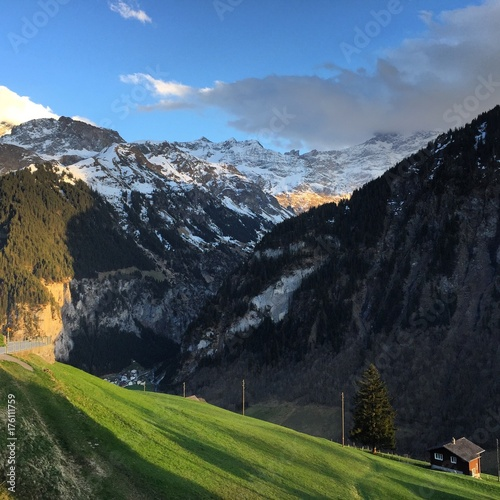Tuinposter Zwart Swiss Mountains