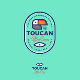 Toucan icon. Coffee beans emblem. Logo for the coffee packing on green background. - 176112309