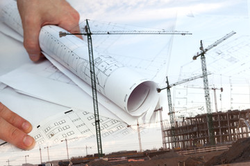 Arquitectura y construcción de viviendas. Arquitecto y planos. Fondo de ingeniería y diseño de arquitectura