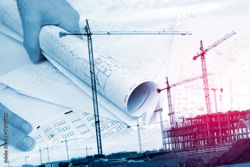 Fridge magnet Arquitectura y construcción de viviendas. Arquitecto y planos. Fondo de ingeniería y diseño de arquitectura