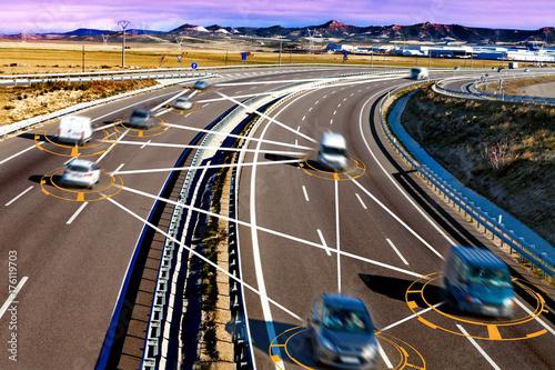 Sticker Coche y tecnologia. Conduccion autonoma y sistemas de seguridad.Transporte intelligente e inteligencia artificial