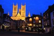Lincoln Cathedral, by night.