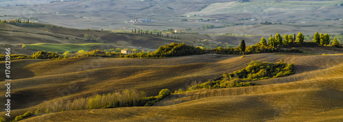 Deurstickers Toscane Pienza, Italy-September 2015: autumn panorama of the most beautiful area in Tuscany, Val d'Orcia Valley
