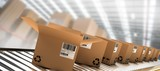 Composite image of row of brown boxes on conveyor belt - 176123375