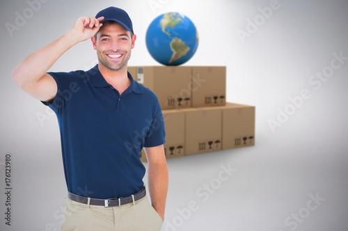 Fotobehang Basketbal Composite image of portrait of happy delivery man wearing cap