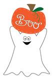 Boo Happy Halloween Ghost and Pumpkin - 176124519