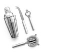Barman equipment. Shaker, strainer on white background top view copyspace - 176125504