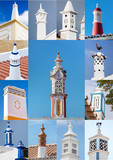 View of a mixed colage of traditional portuguese chimneys. - 176125763