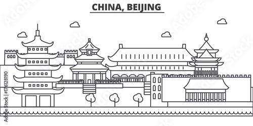 Fototapeta China, Beijing architecture line skyline illustration. Linear vector cityscape with famous landmarks, city sights, design icons. Editable strokes