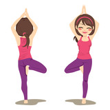 Young woman exercising yoga tree pose front and back view - 176128506