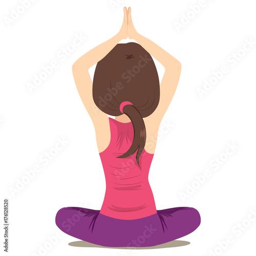 Fototapeta Back view illustration of woman practicing yoga pose