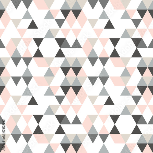 fototapeta na ścianę Geometric abstract pattern with triangles in muted retro colors.