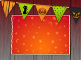 Halloween background with bunting and panel on wood - 176130980