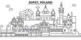 Poland, Sopot architecture line skyline illustration. Linear vector cityscape with famous landmarks, city sights, design icons. Editable strokes