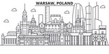 Poland, Warsaw architecture line skyline illustration. Linear vector cityscape with famous landmarks, city sights, design icons. Editable strokes - 176133183